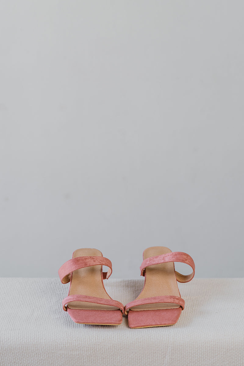 Brooke Suede Strappy Heels in Rose