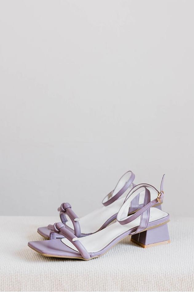 Load image into Gallery viewer, Amalia Strappy Heels in Lilac