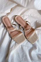 Libby Croc Sliders in Cream