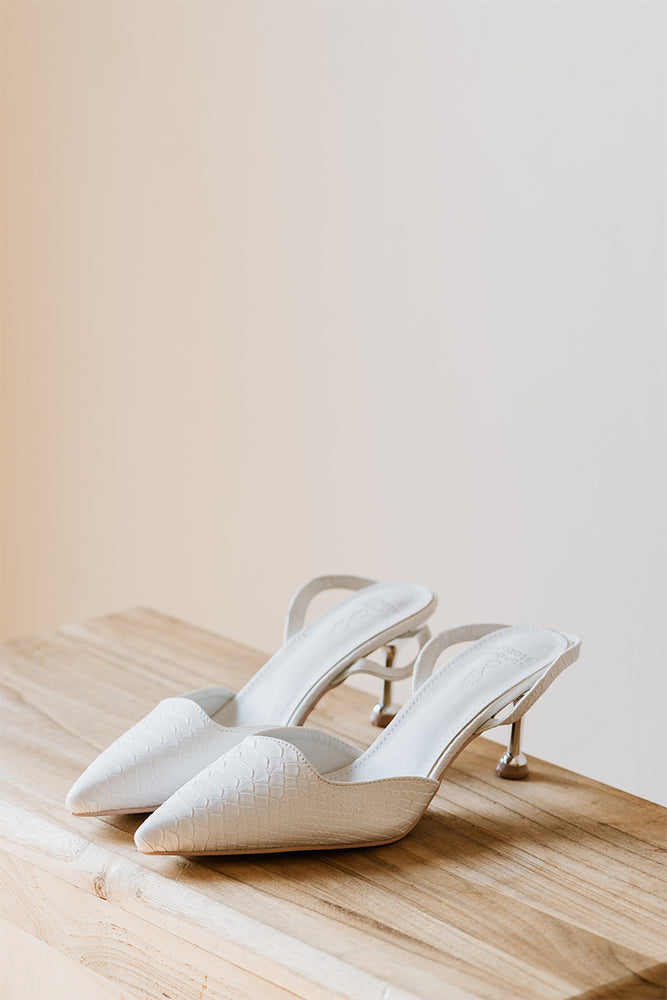 Aria Croc Heels in Cream