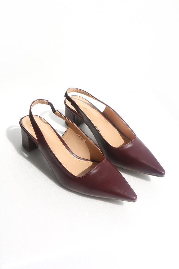 Holly Slingback Heels in Oxblood