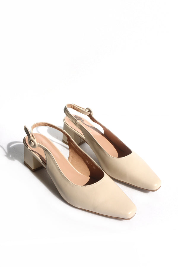 Harriet Slingback Button Heels in Cream