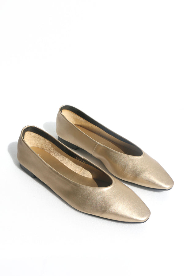 Tracy Pointed Flats in Gold