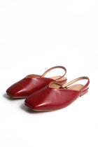 Sally Leather Slingbacks in Wine