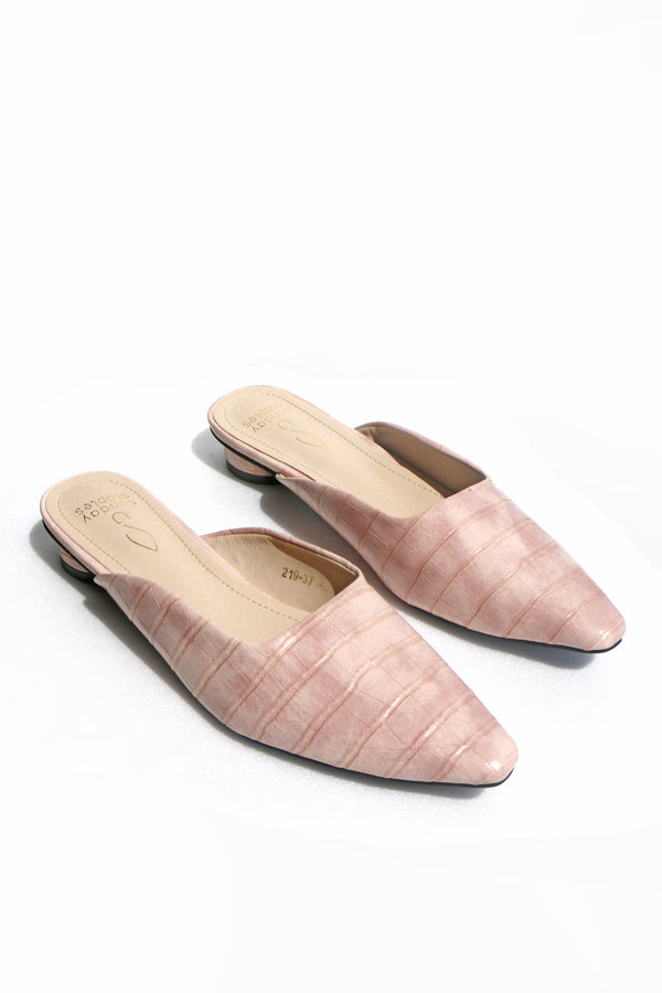 Candace Croc Mules in Blush
