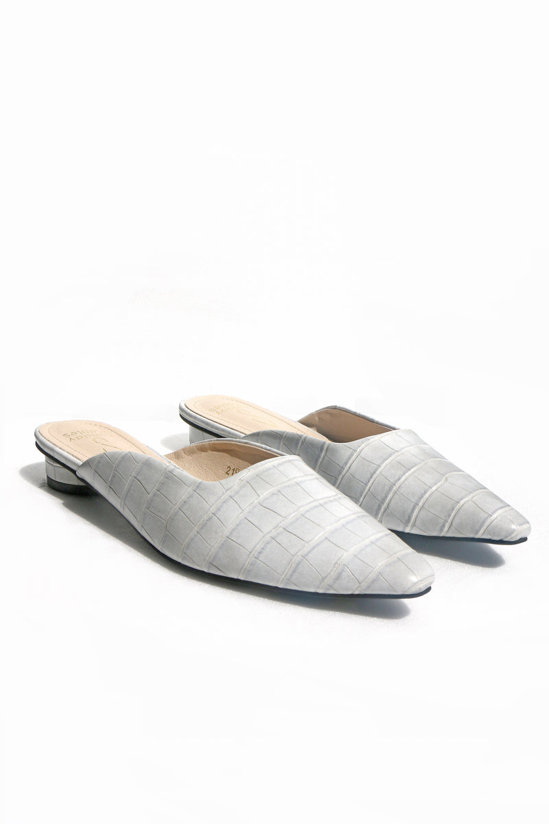 Candace Croc Mules in Grey