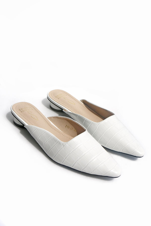 Candace Croc Mules in Cream