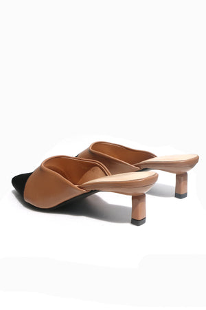 Load image into Gallery viewer, Camille Slip-on Heels in Chestnut Brown