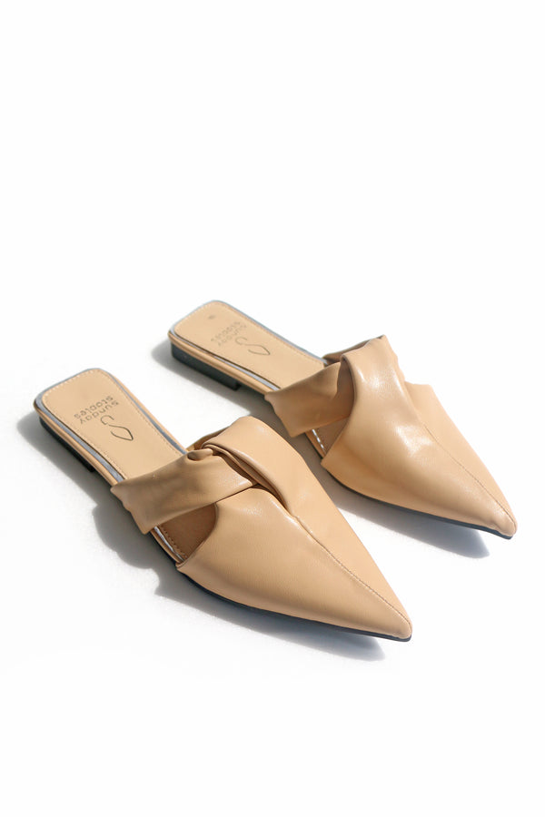 Callie Slip on Mules in Nude
