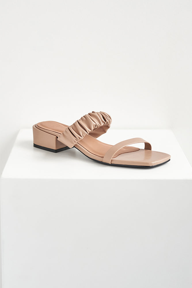 Cassia Ruched Heels in Nude