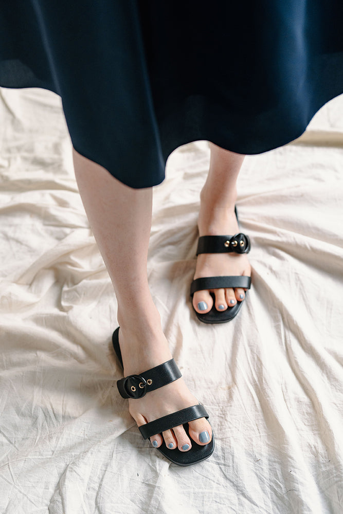 Tonya Buckle Sliders in Black