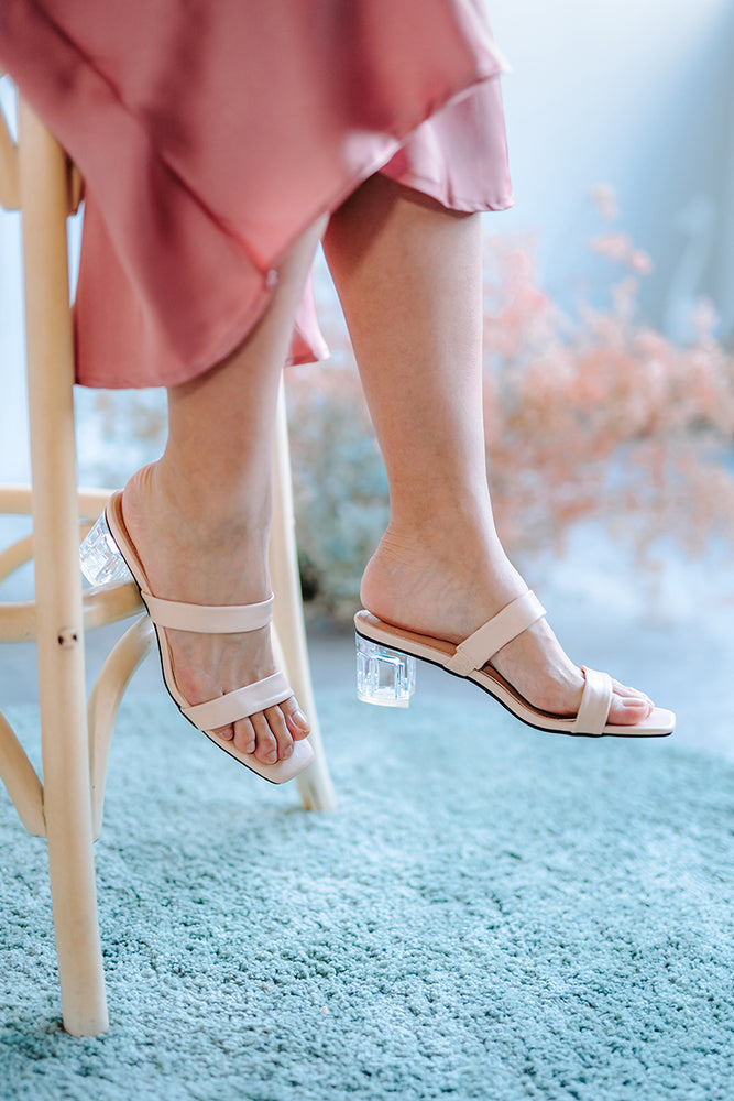 Cora Strappy Clear Heels in Cream