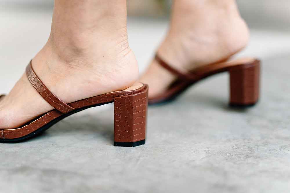 Lenka Croc Strappy Heels in Chocolate