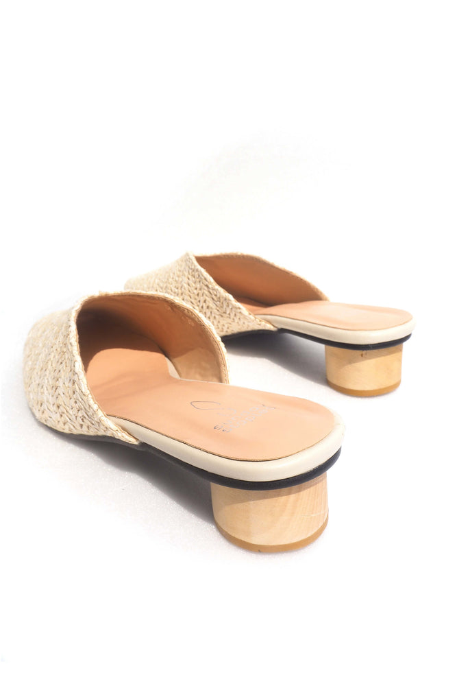 Becky Rattan Sliders in Cream
