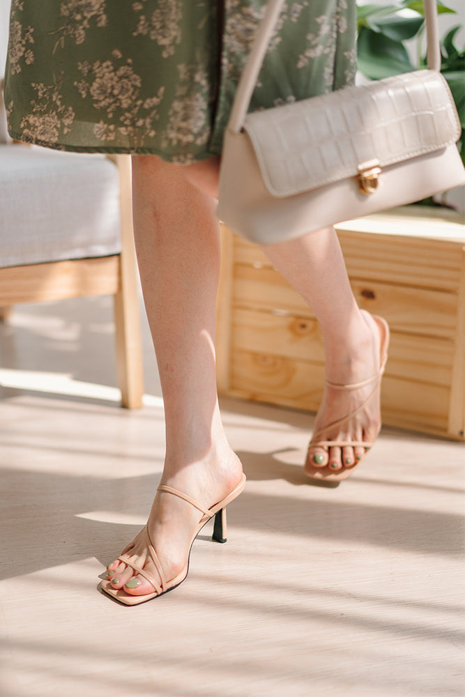 Lyla Strappy Heels in Nude