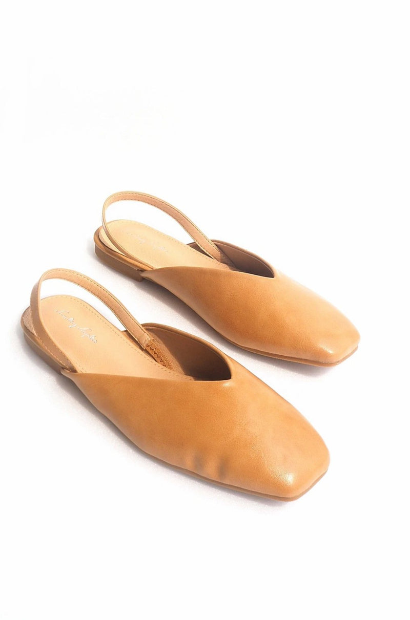 Sally Leather Slingbacks in Camel