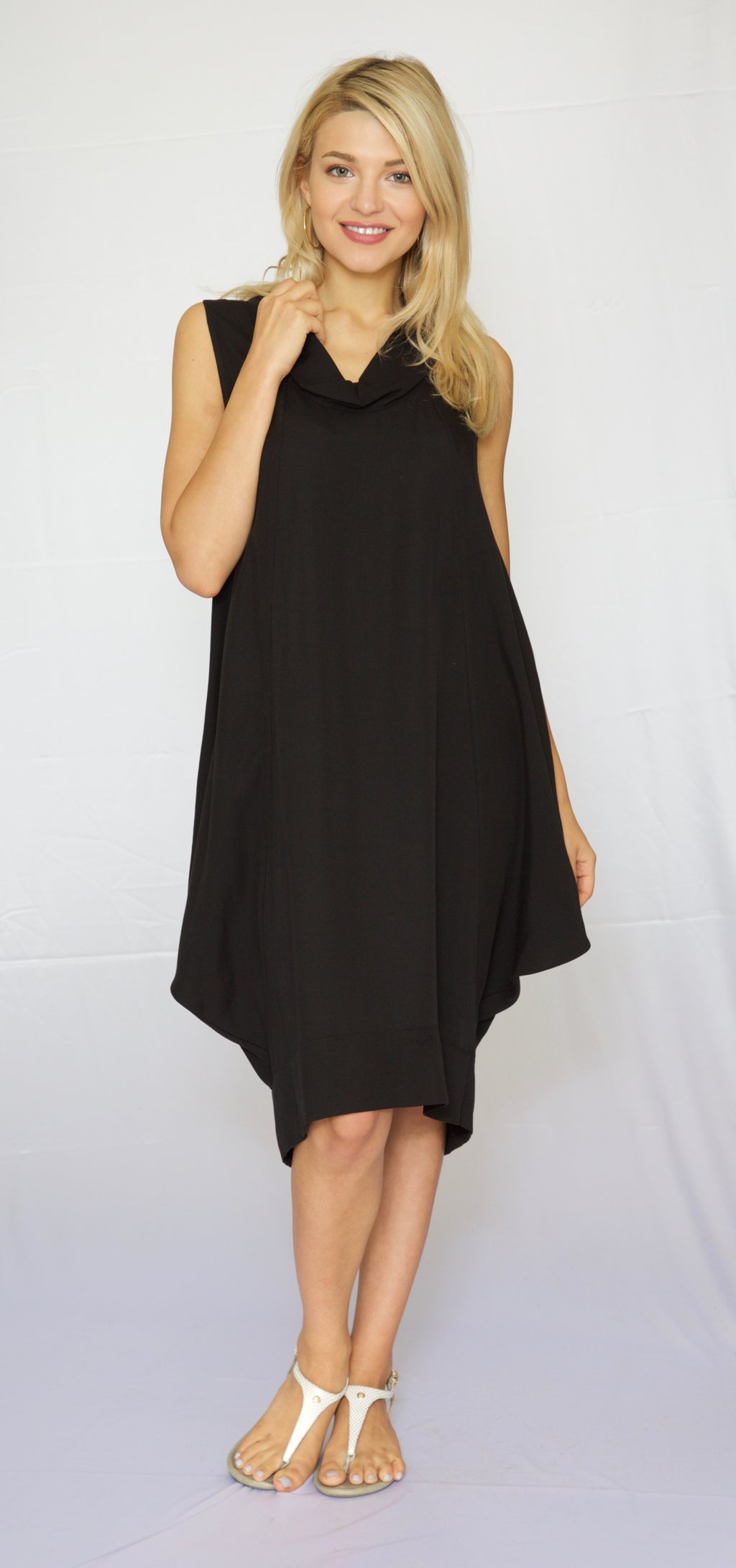 Trishia Grace-Cowl neck Sundress Solid Black Garment washed Tencel
