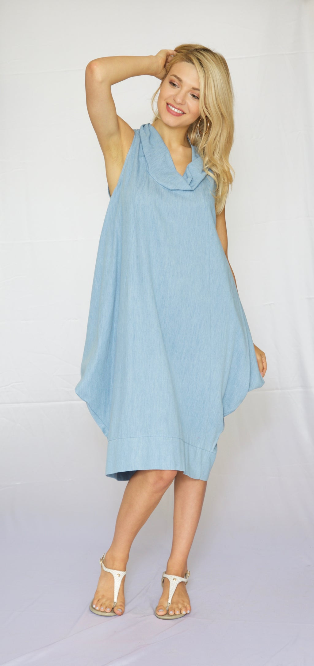 Trishia Grace-Cowl neck Sundress Washed Chambray