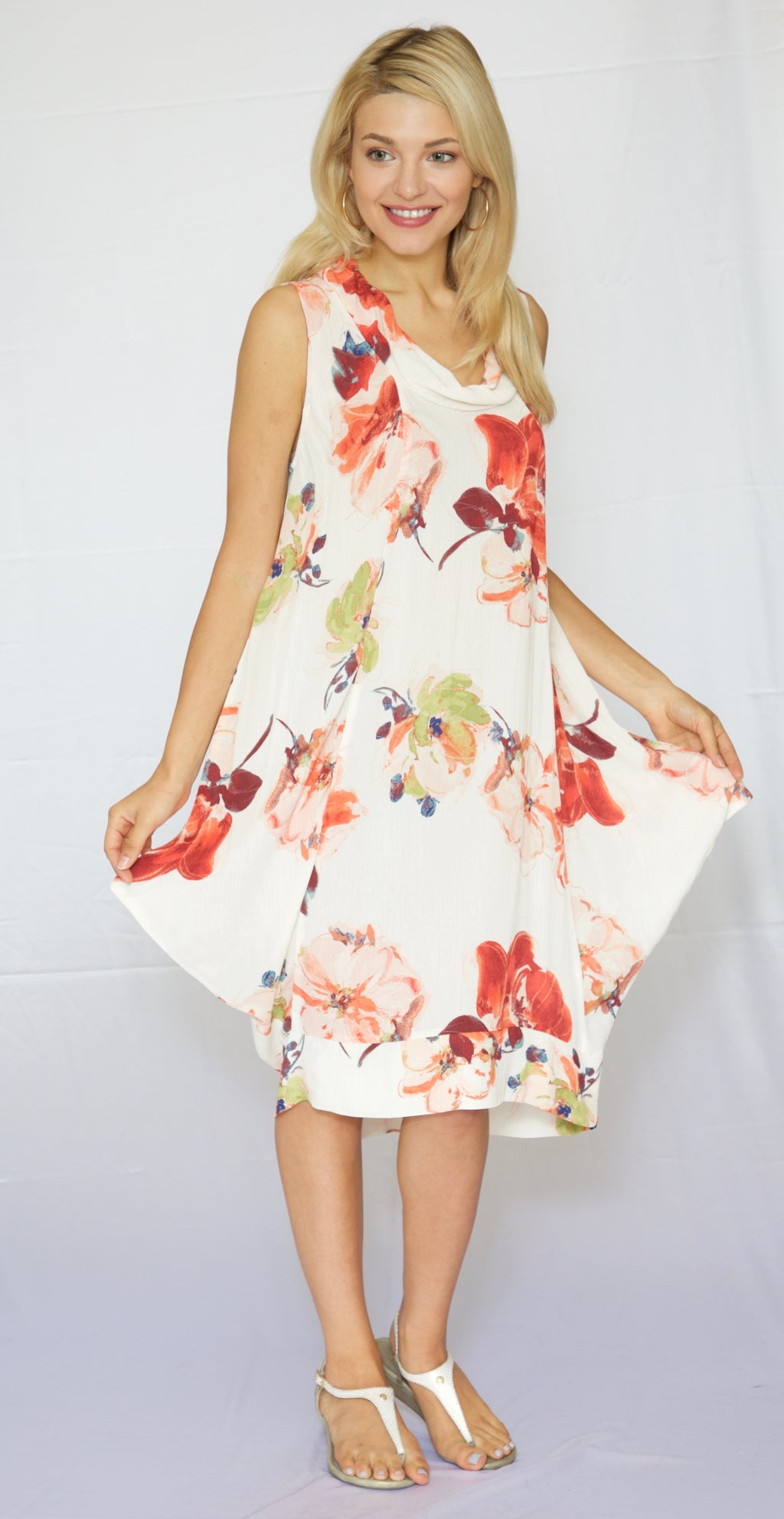 Trishia Grace-Cowl neck sundress in Orange Floral