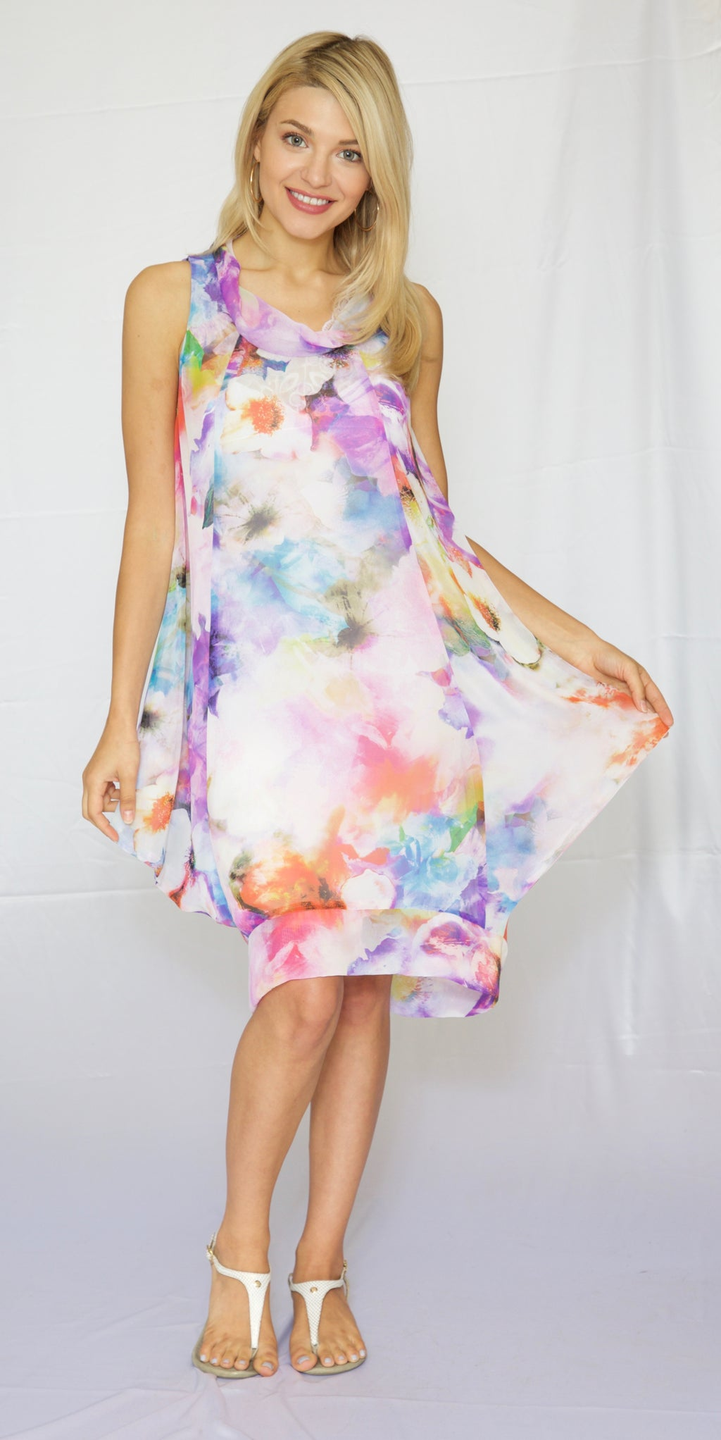 Trishia Grace-Cowl neck sundress in Watercolor Floral