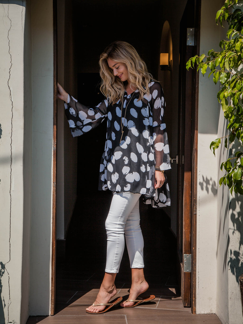 Trishia Grace-The Larrabee Tunic Dress Black & White Polka Dots