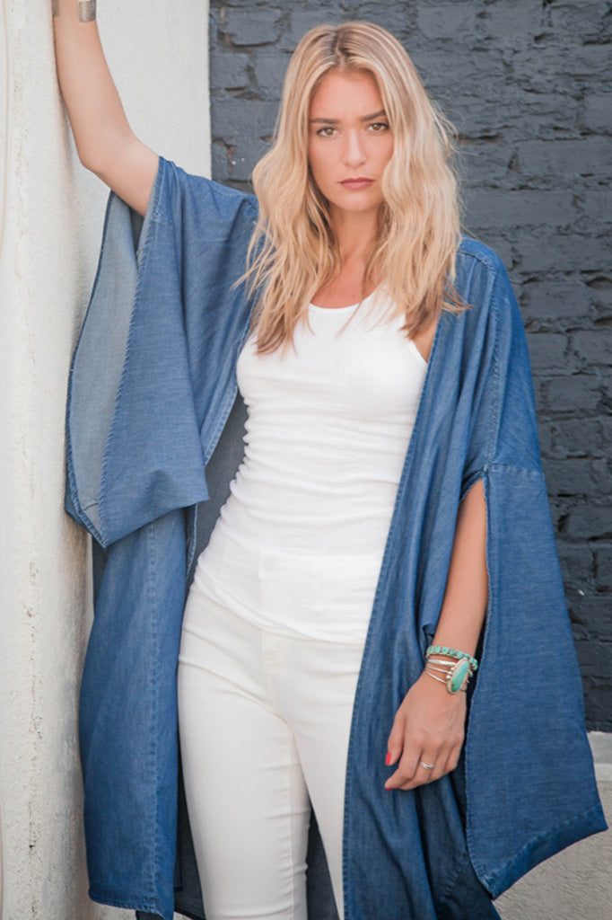 Trishia Grace - The Coco Kimono Garment Washed Chambray