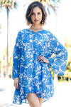 Trishia Grace - Larrabee Tunic Dress Blue China Floral