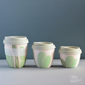 Reusable Takeaway Cup Green Cactus by Kim Wallace