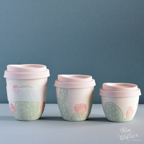 Reusable Takeaway Cup Pink Cactus by Kim Wallace