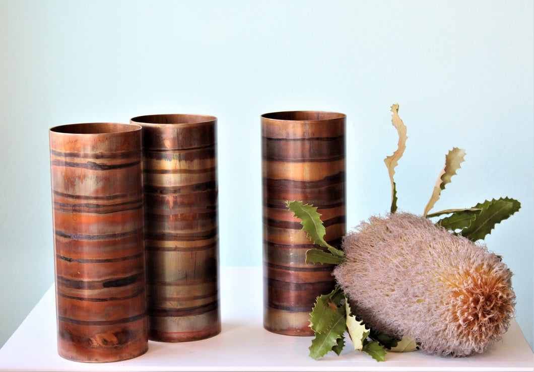 Banded Copper Vase 25x10cm by Greybox Design