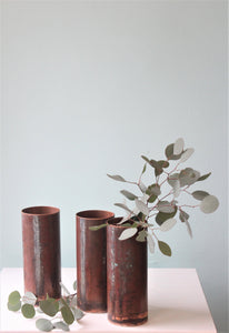 Raw Streaked Copper Vase 25x10m (Greybox Design)