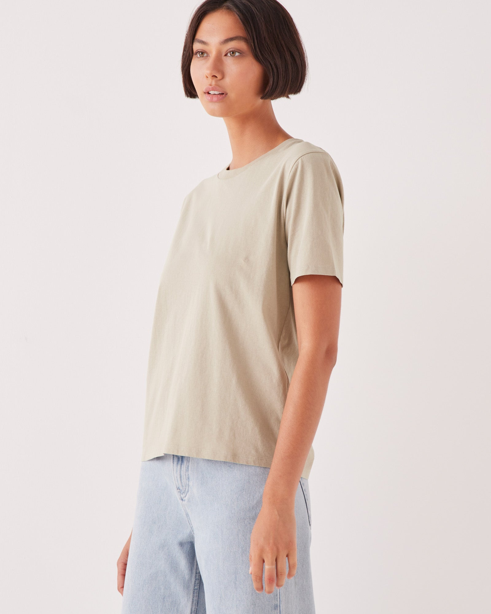 High Neck Crew Tee Washed Khaki