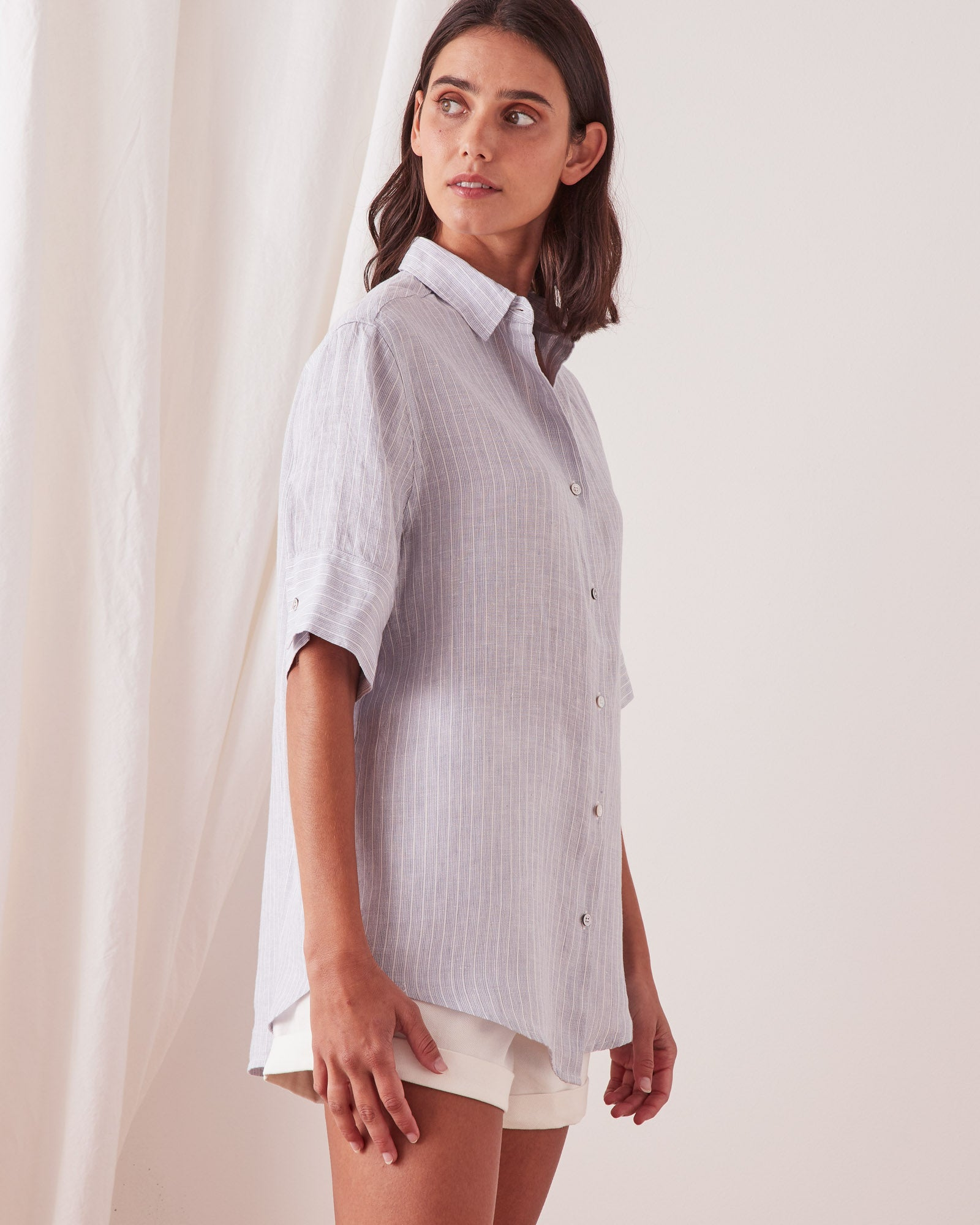 Short Sleeve Shirt Seamist Stripe