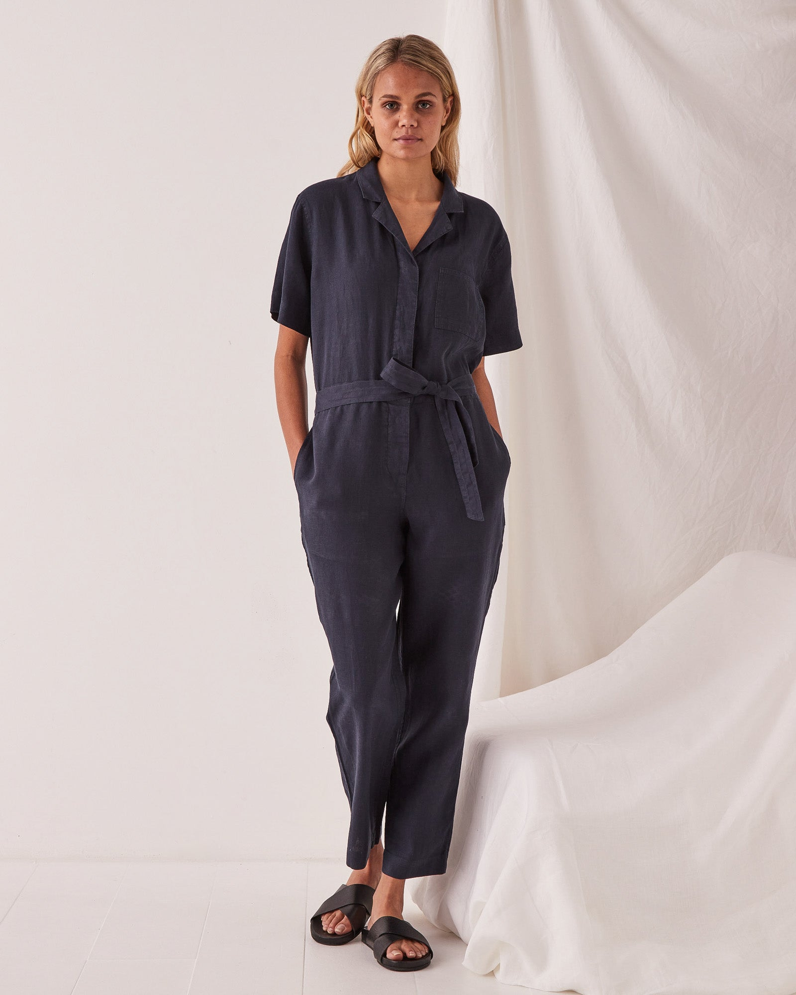 Blair Linen Boilersuit True Navy