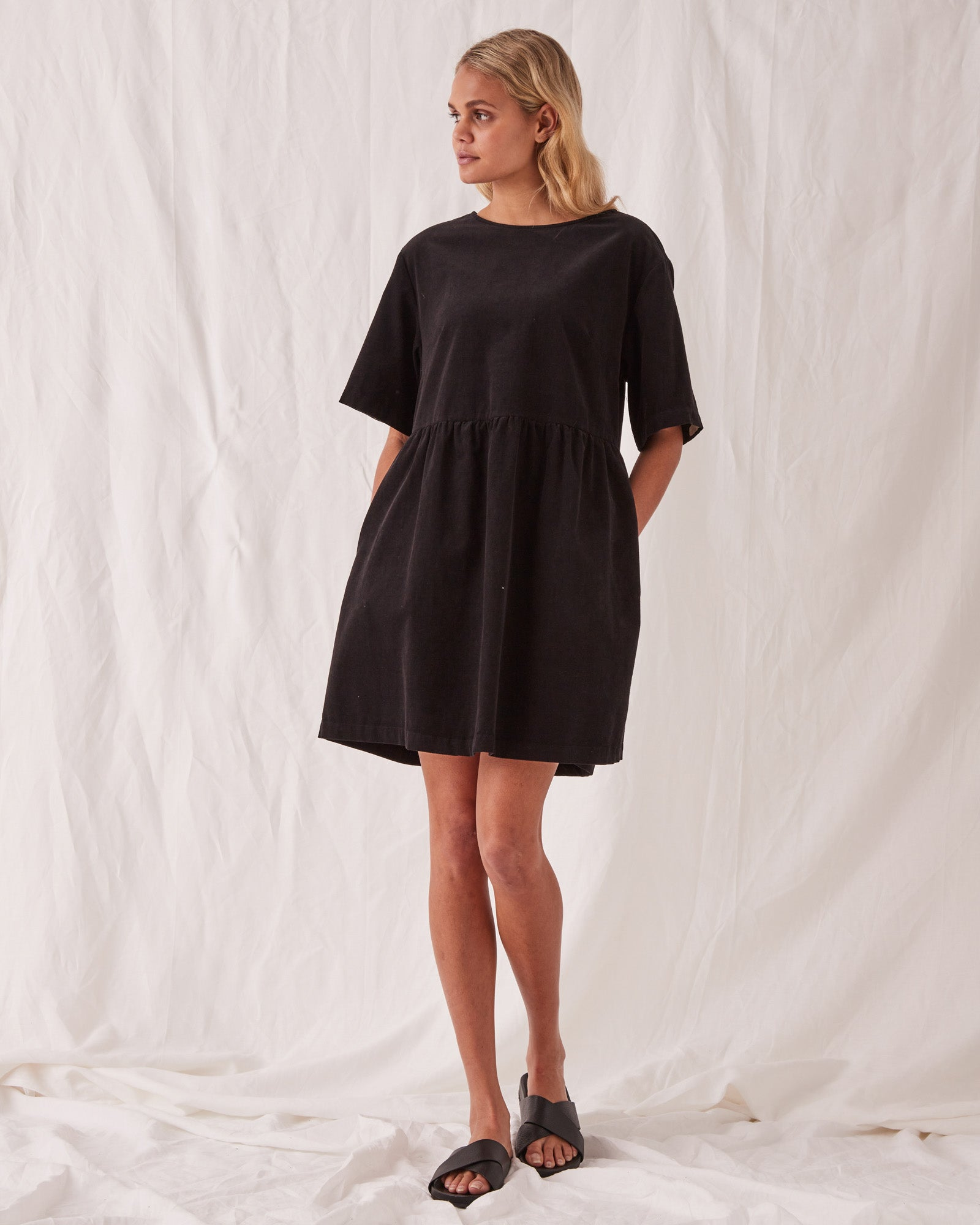 Cord Drawn Dress Black