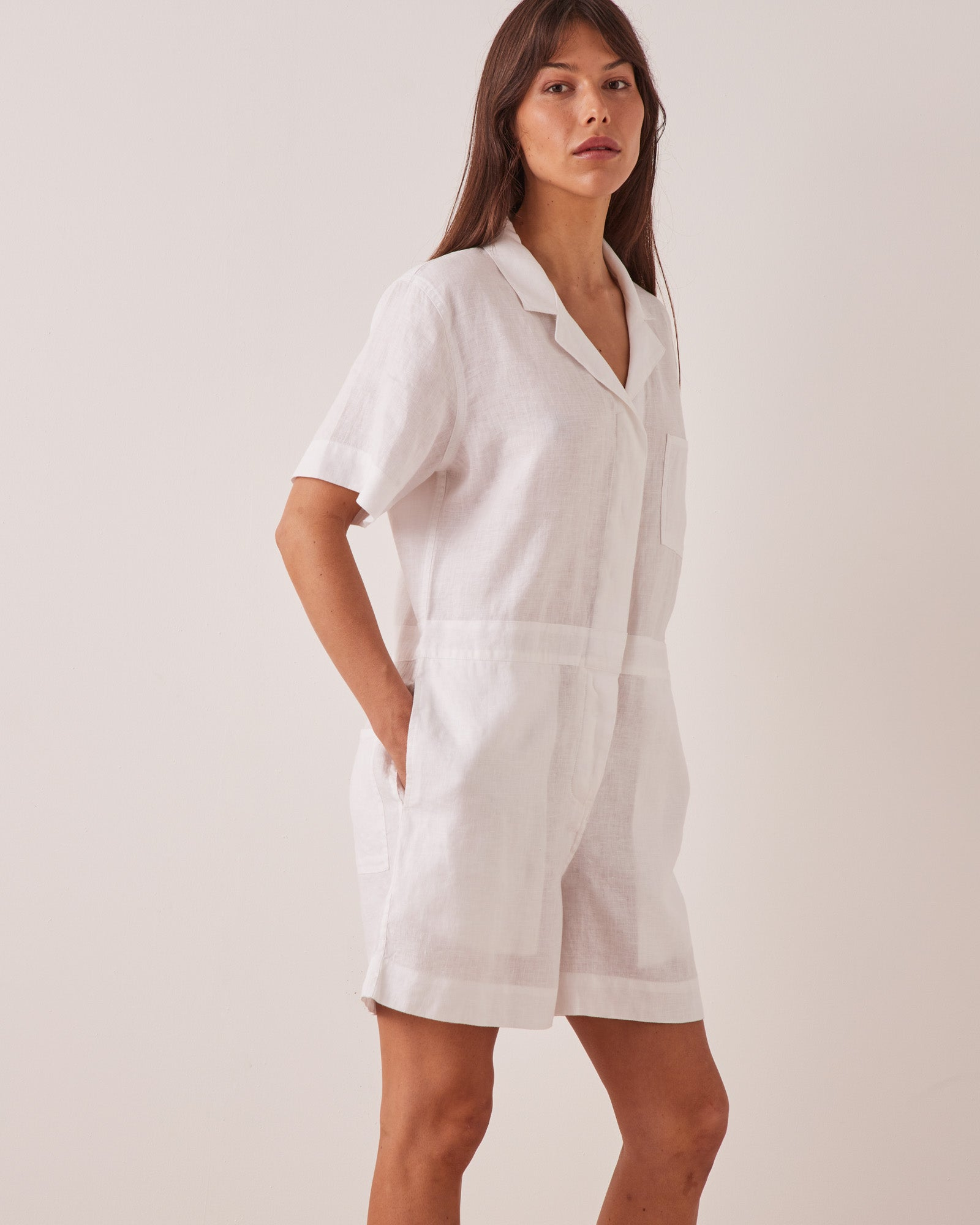 Blair Linen Playsuit White