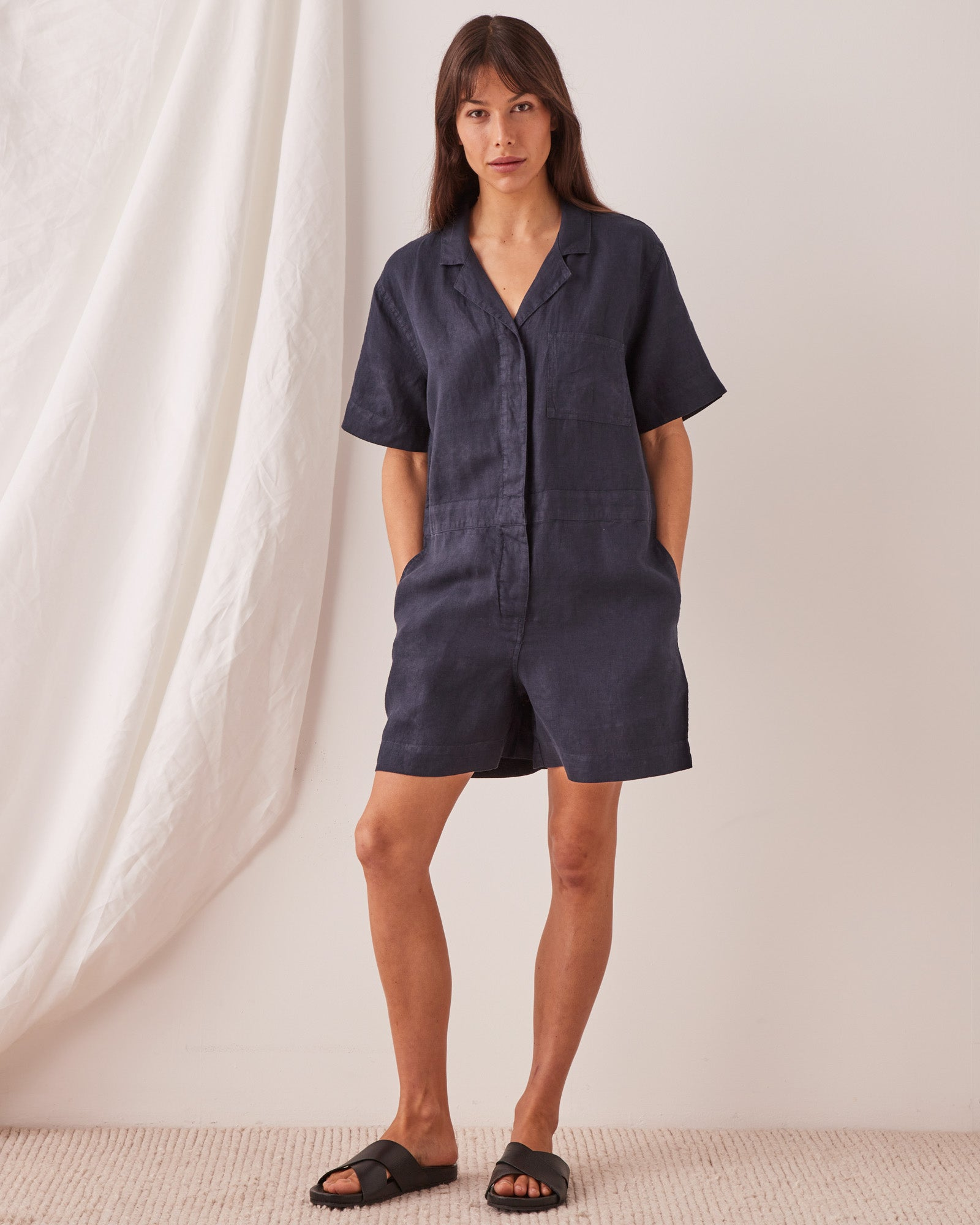 Blair Linen Playsuit True Navy