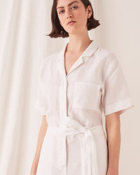 Blair Linen Boilersuit White