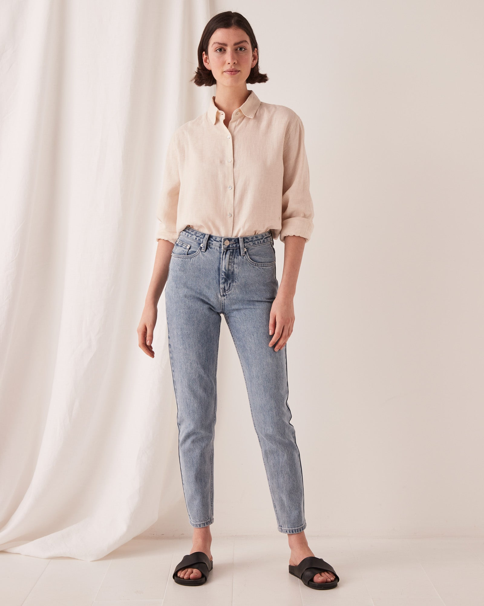 High Waist Rigid Jean Stone Blue