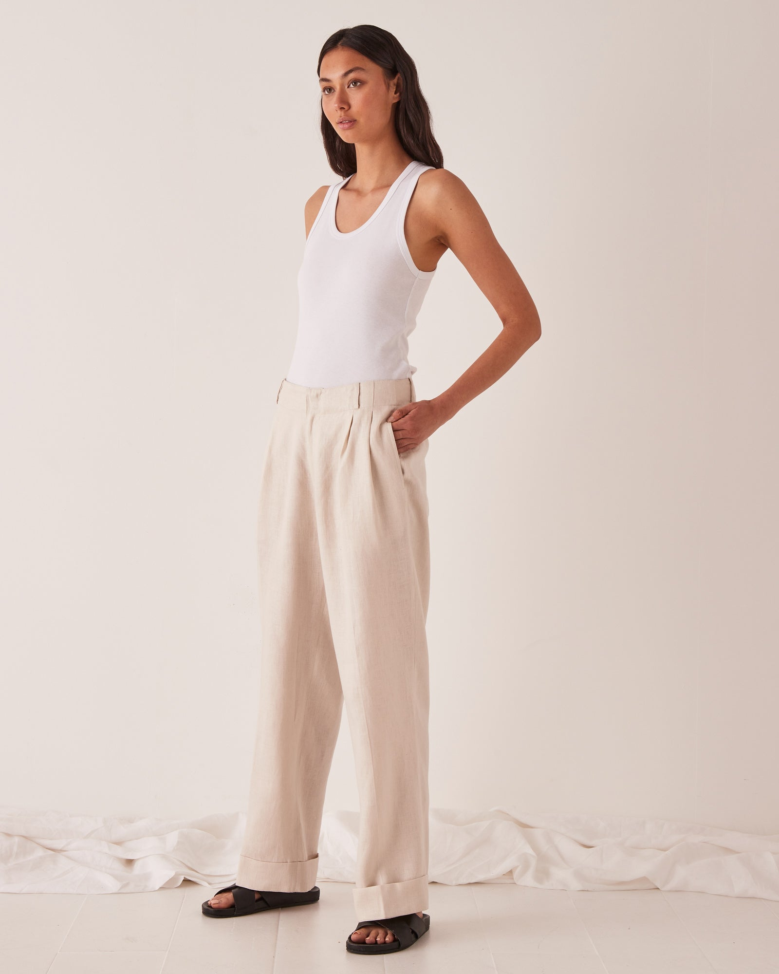 Tailored Linen Pant Ivory