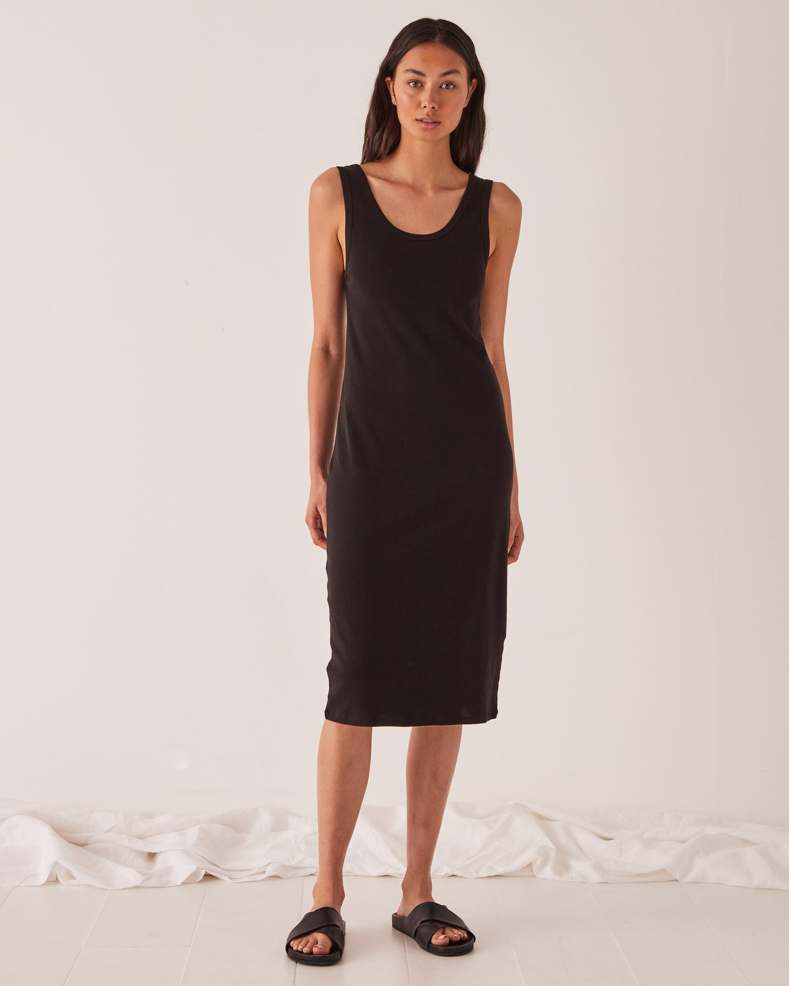 Black Cotton Rib Tank Dress