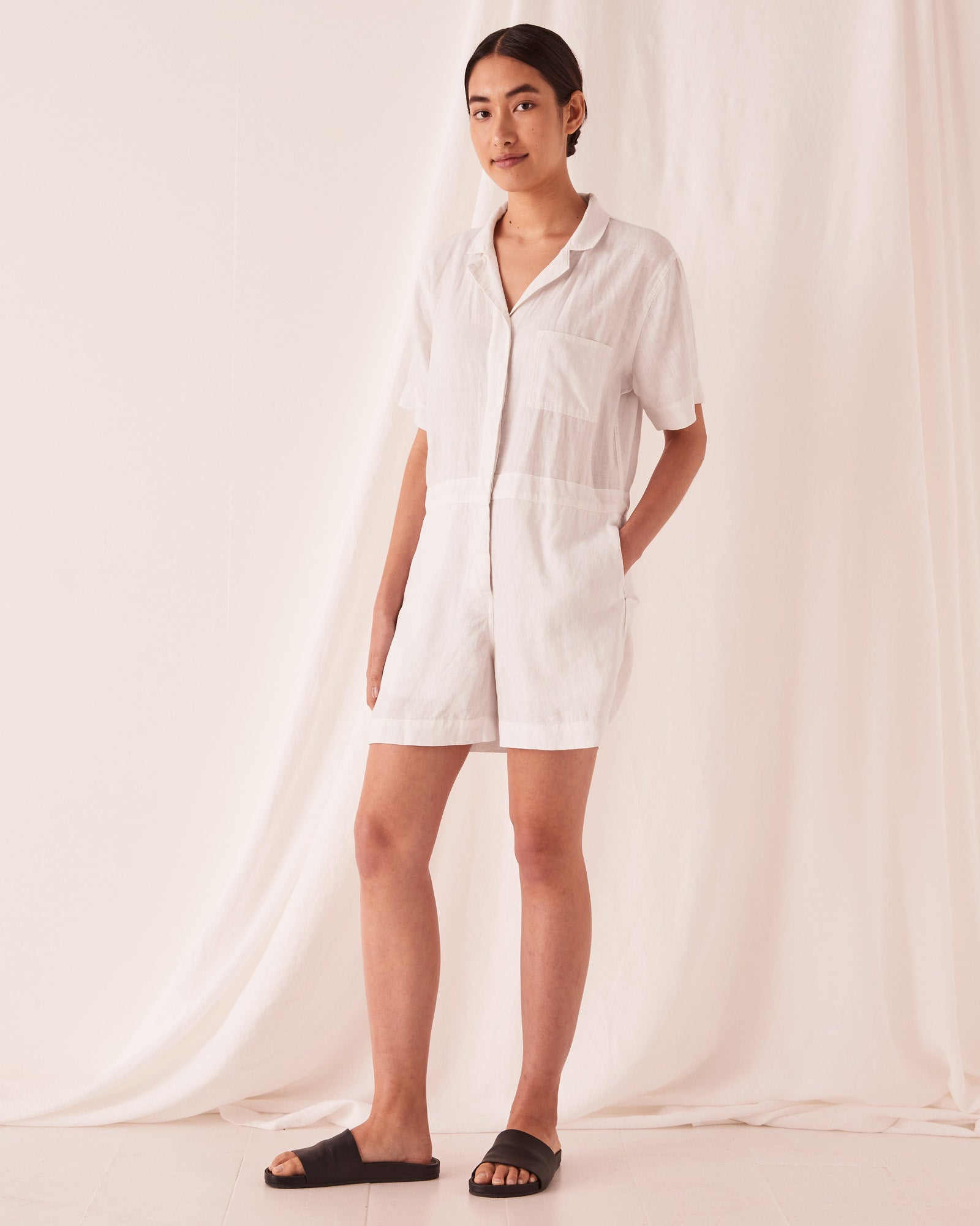 Blair Linen Playsuit Silver Grey