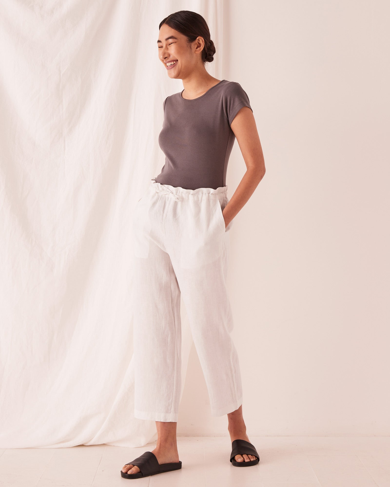 Ollie Linen Pant Silver Grey