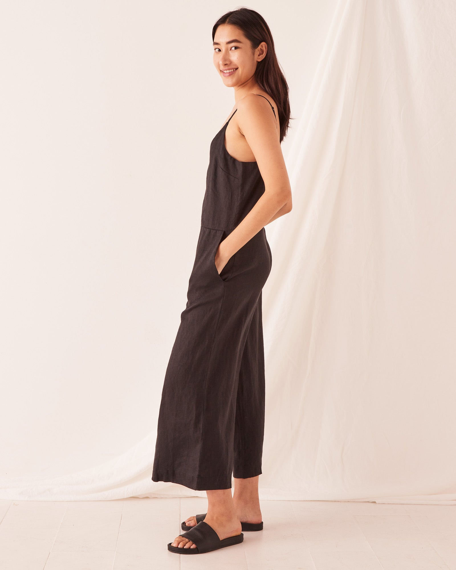 Wide Leg Linen Jumpsuit Black