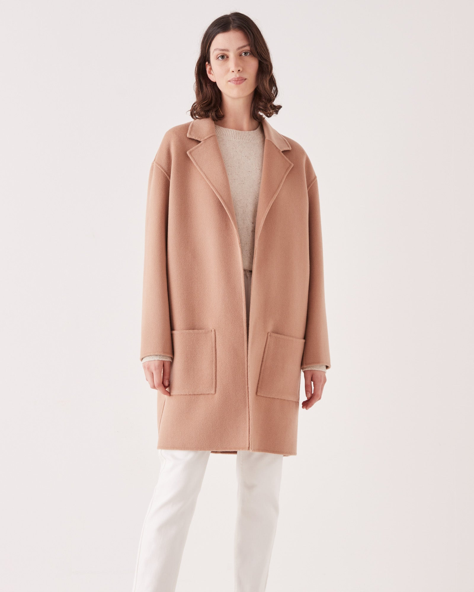 PRE ORDER Single Breasted Wool Coat Taupe