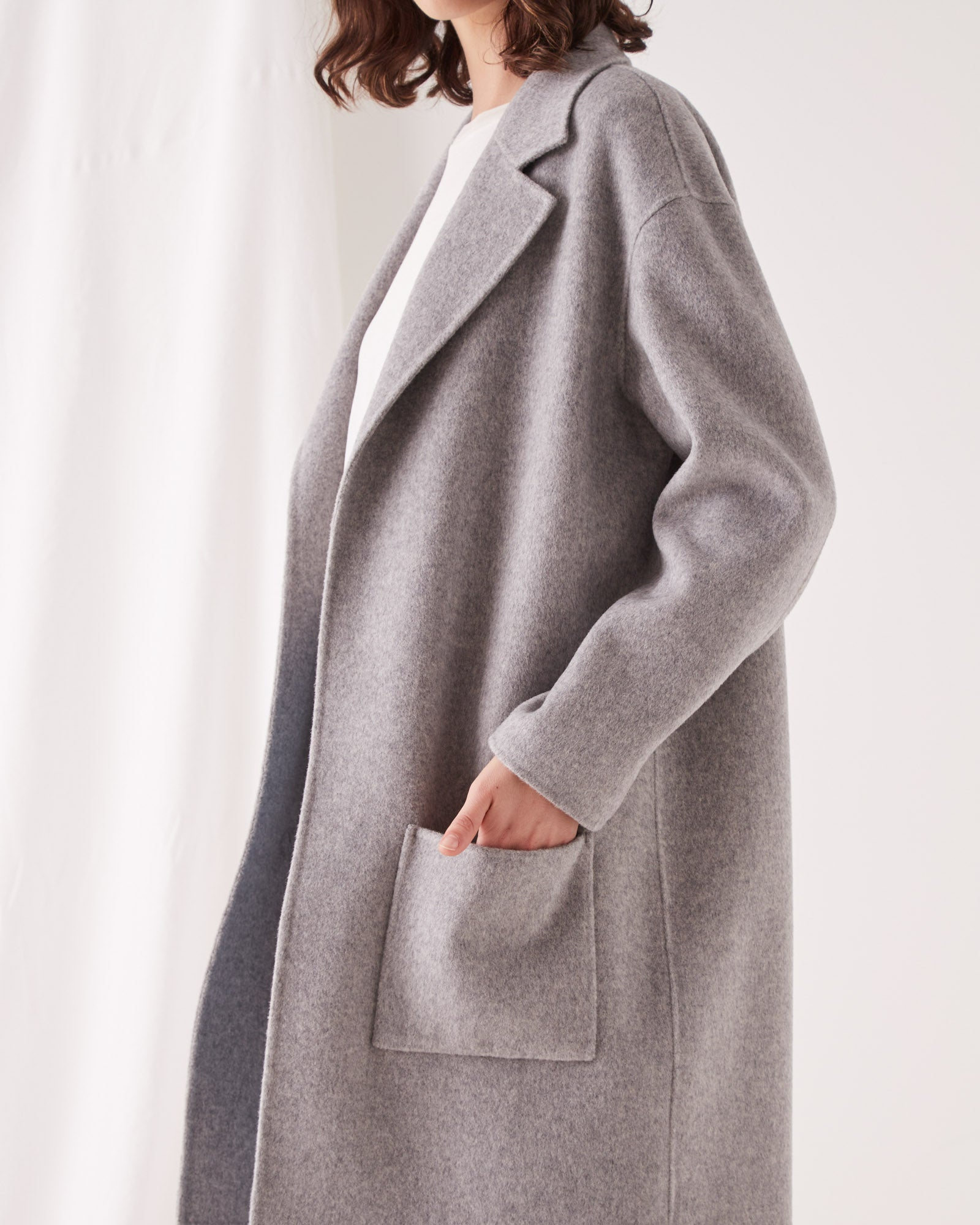 PRE ORDER Single Breasted Wool Coat Grey Marle