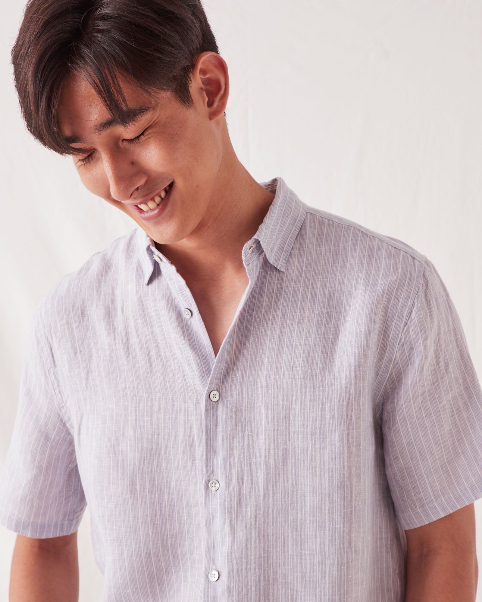 Casual Short Sleeve Shirt Seamist Stripe