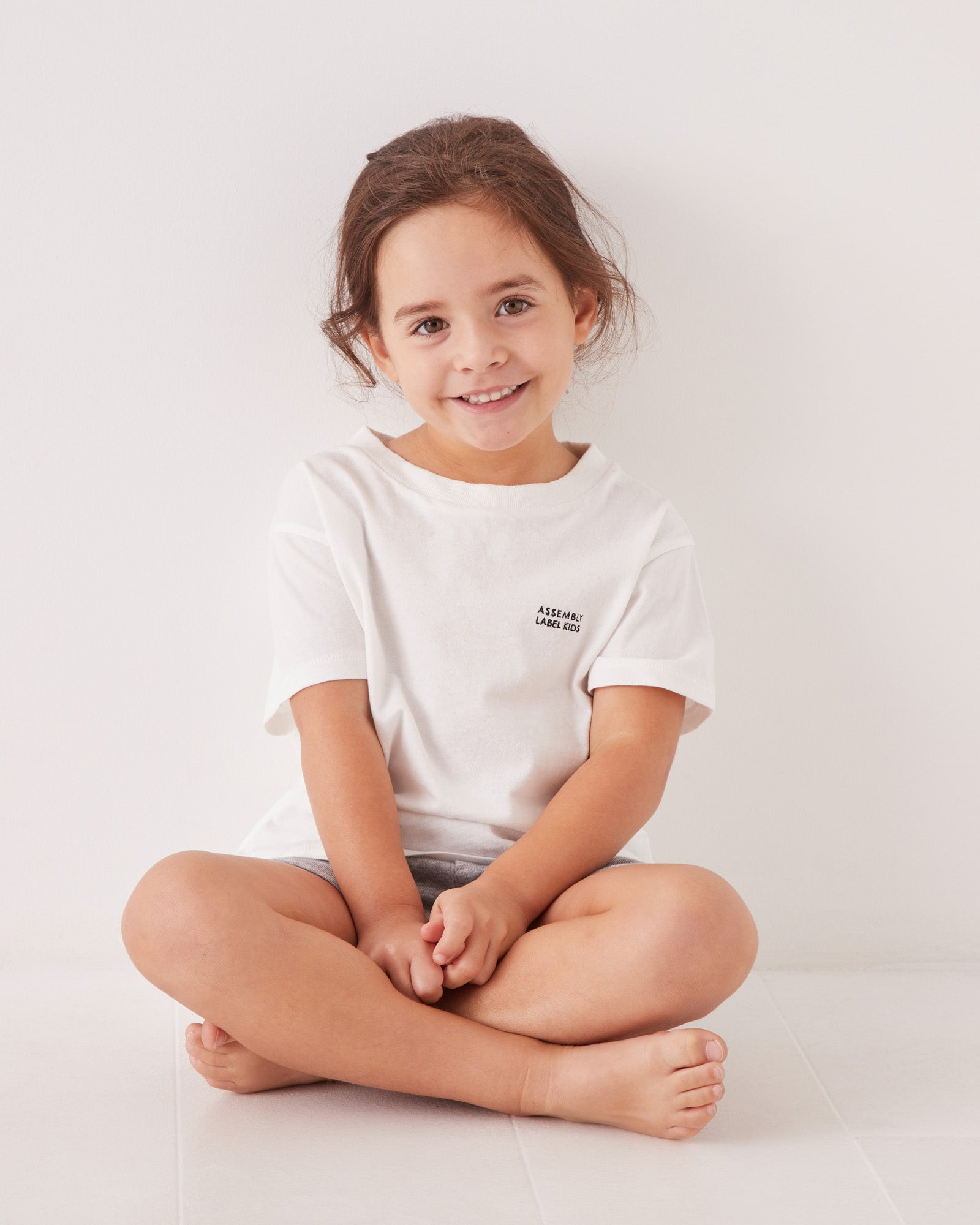 Kids Embroidered Tee Antique White