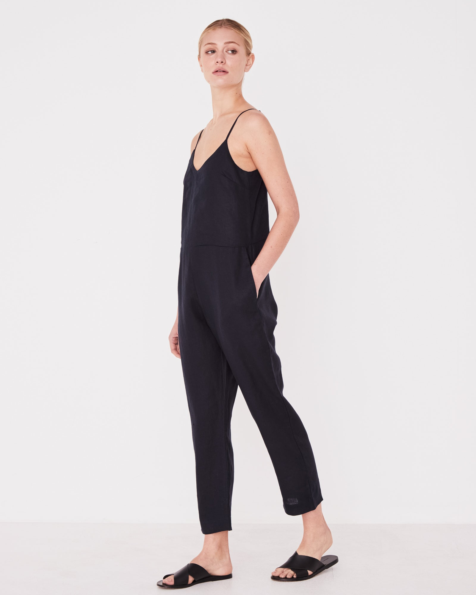 Linen Slip Jumpsuit True Navy