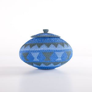 Blue and Grey Telewire Pot with Flower on the Lid (Hard Wire)